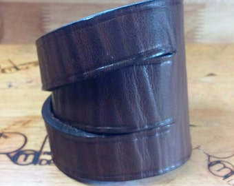 Brown Leather Cuff with Brass