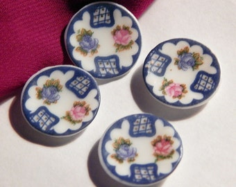 Doll House Dessert Plates - Blue White Floral Pattern - Dollhouse China Plates - 1/12th Scale