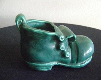 Vintage Childs Green Shoe Planter