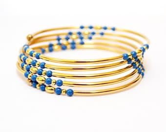 Gold Memory Wire Bracelet, Gold Bracelet, Gold Jewelry, Beaded Bracelet, Women's Gold Bracelet