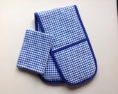 Toy Oven Glove and Tea Towel. Home corner toy kitchen. Blue gingham