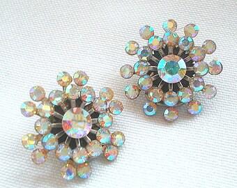 Aurora Borealis Rhinestone Earrings Starburst Snowflake Design Clip On Mid Century Retro