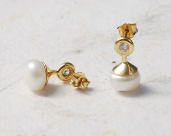 Unique Anniversary Gift For Wife, Long Gold Stud Earrings, Pearl Stud Earrings, Pyramid Earrings, Zirconia Earrings, Wife Birthday Gift