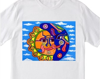 "Mexican Folk Art- ""Sun and Moon""- 100% Cotton T-Shirt for Men, Women & Youth by A.V.Apostle"