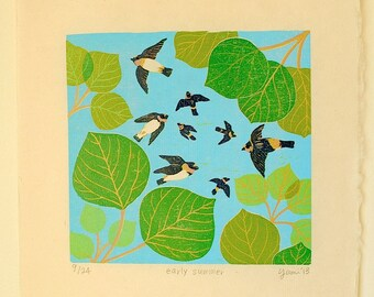 "Origina Woodcut Print ""early summer"" Cliff swallows and aspen leaves"
