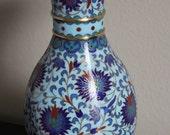 Elegant Cloisonne Vase Floral Cobalt Blue Gold trim