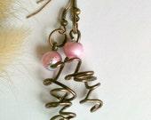 Copper Wire Wrapped Asymmetrical Earrings Handmade