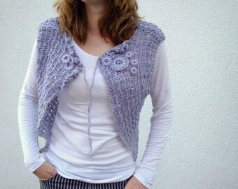 Vest, Crochet Vest, for Women, Spring, Summer, Pastel gray, Cardigan, Boho, Gift for her