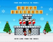 Super Mario 8-BIT Christmas/Holiday Card (JPEG PRINTABLE) - Spongeshoe