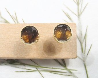 5 mm rose cut Smoky Quartz , solid 9k yellow gold studs earrings, Mother day earrings