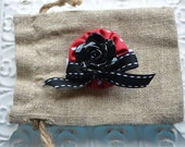 Baby Girl/ Toddler girl hair clip/ barrette/ hair bow/ alligator clip- Black and red cabochon flower