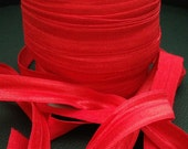 "5/8""  FOE Fold over elastic- Christmas red- *US Seller*  2 yds *DIY headbands*  2 yards-Great for Hair ties!"