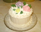 Cream Cake Pillar Candle - Choose Scent & Flower Color - Cream with White Icing