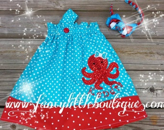 Adorable girl octopus outfit  red and turquoise polka dots