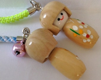 SALE Kokeshi Doll Charms in Natural