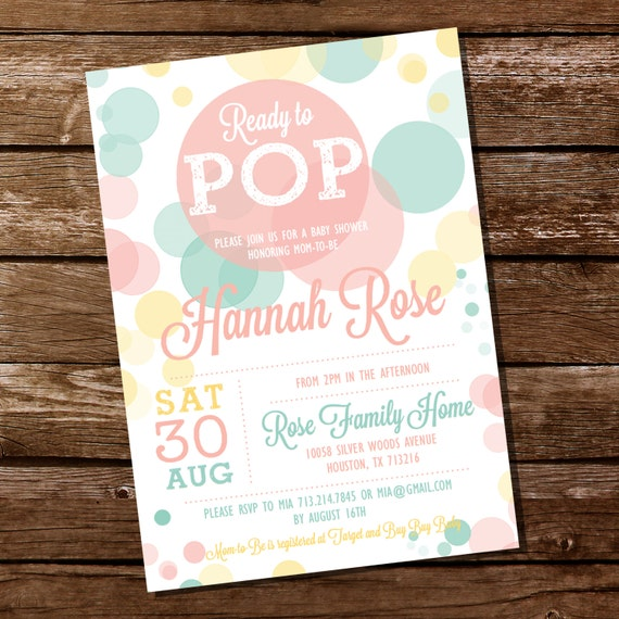 ready to pop baby shower invitation for a unisex baby shower instant