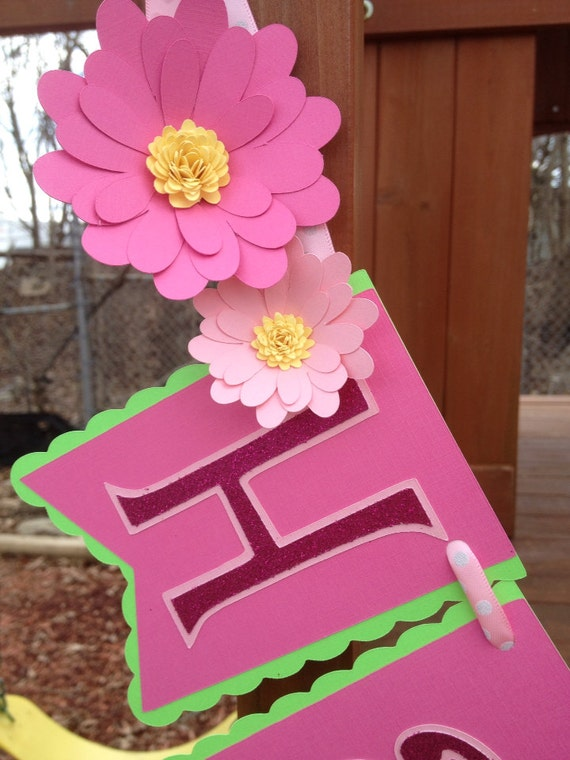 Lime Green & Pink Birthday Banner with Flowers