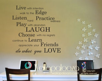 Inspirational Wall Decor - Live with Intention Wall Quote - Inspirational Wall Decal - Family Wall Decal - Love Wall Decal - Wall Art