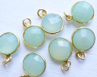 Gold Vermeil Bezel Sea Green Chalcedony -- 1 Faceted Stone -- 11mm Aqua Gemstone -- Sterling Silver Framed Pendant -- Charm