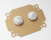 Fabric Button Earrings - Bridesmaid Stud Earrings - Gray Lace Stud Earrings