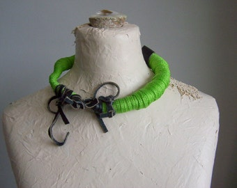 Wrapped Necklace, Freeform Necklace, Leather, Cord, Choker ,OOAK