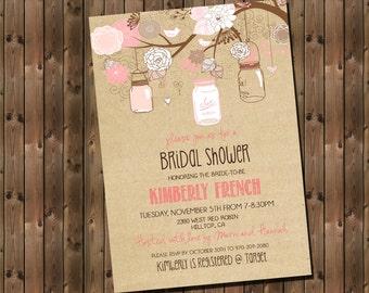 Rustic Bridal Shower Invitation Pink with Mason Jars and Flowers, Digital File, Printable _1182