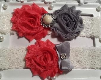 Coral / Grey Wedding Garter Set - Ivory Stretch Lace - Rhinestone Detail...