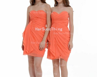 Bridesmaid Dress, Sweetheart Chiffon Short Homecoming  Dress