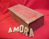 RESERVED for Ruth Tool Box Vintage Supplies Box Rustic Red Storage Box and Wood Letters