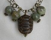 Ojime turtle pendant w opal charms w brass chain necklace , beaded jewelry , Japanese Ironwood Ojime bead , modern layering necklace , wood