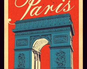 Fridge Magnet vintage travel poster for Paris France arc de triomphe