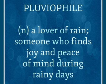Fridge Magnet definition for Pluviophile lover of rainy grey days Joy peace of mind rain