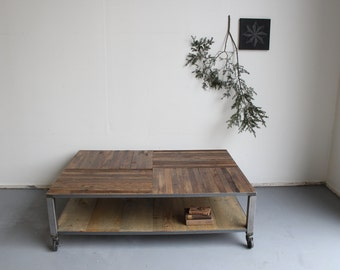 Industrial Rustic Reclaimed Barn Wood Coffee Table Steel Metal Base on Casters - - Crux Pattern top