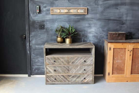 Reclaimed Barn Wood Dresser Console Sideboard Media Stand Entertainment Center Nightstand Grey Chevron Rustic Modern Minimalist Storage