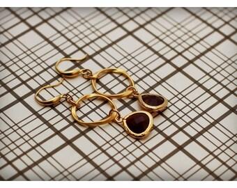 Gold and purple hoop drop earrings