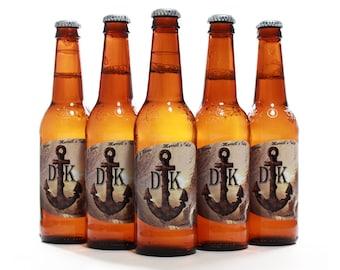 Nautical Wedding, Beer Bottle Labels, Custom Anchor Label, Beach Wedding
