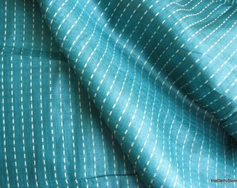 Pure Tussah Silk Light Weight Kantha Weave Fabric in Teal  Sold by Yard