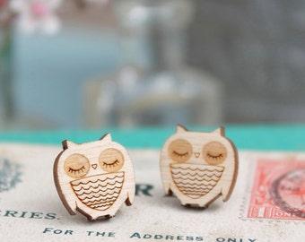 Laser Cut Wooden Owl Stud Earrings
