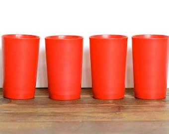 Tupperware: red tumblers, set of four