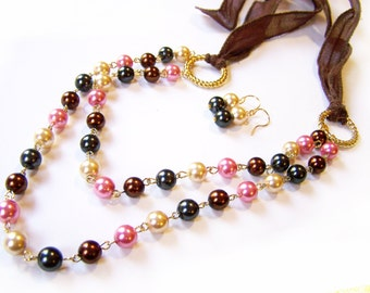 Pink Brown Cream Gray Dual Layer Glass Pearl Ribbon Statement Necklace and Earring Set / Gift for Her