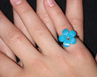 Little Girl Adjustable Ring - Turquoise Sparkly Flower - Ready to Ship!