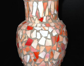 Stained Glass Mosaic Vase Hand Crafted Pink and Coral @LootByLouise