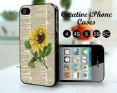 iPhone 5S Case - Dictionary Art Sunflower Vintage Victorian - for iPhone cases