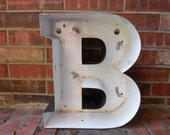 """Large Reclaimed Metal Sign Capital Letter """"B"""", Wedding, Birthday, Great Gift, Industrial Salvage, Home Decor, Office Decor, Industrial Decor"""