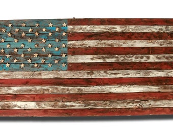 Vintage American Flag Wall Art american flag weathered wood one of a kind 3d wooden