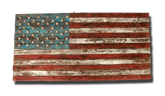 American Flag Art Wood The Image Kid