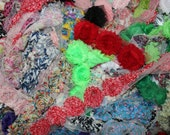 lot of 25  random shabby chiffon  flowers supplies hair bow print and solid