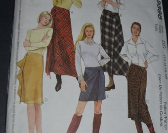 McCalls 3398  Misses Mock Wrap Bias Skirts in four lengths Sewing Pattern - UNCUT - Size 12 14 16 18