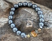 Beautiful hematite gemstone wrist mala bracelet