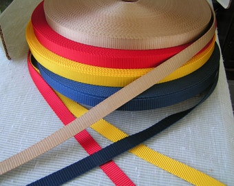 5 yards of 3/4 Inch 100% nylon webbing, gorgeous colors of Bright Red, Golden Yellow, Navy Blue  and Medium Tan.